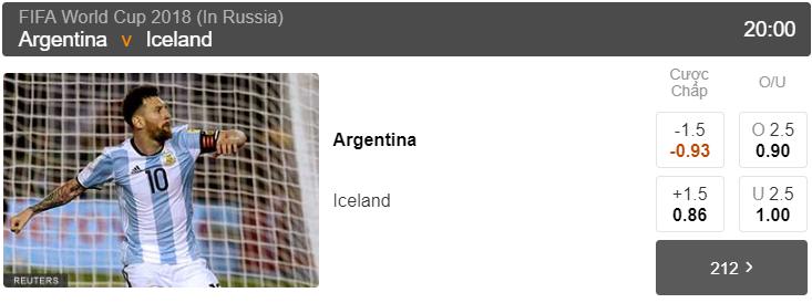 Tỷ lệ cược Argentina vs Iceland