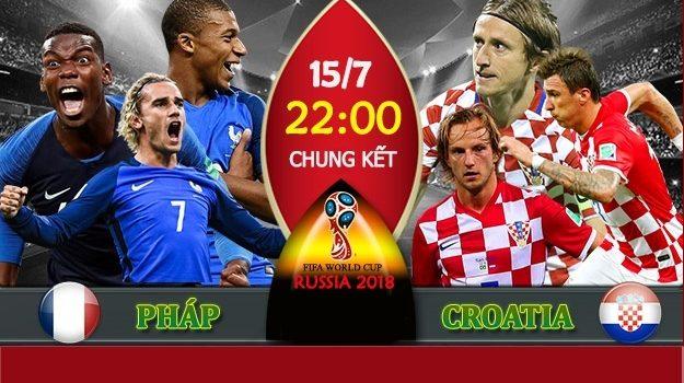 Soi kèo Pháp vs Croatia 22h ngày 15/07/2018