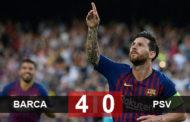 Messi tỏa sáng lập hat-trick giúp Barca hạ gục PSV